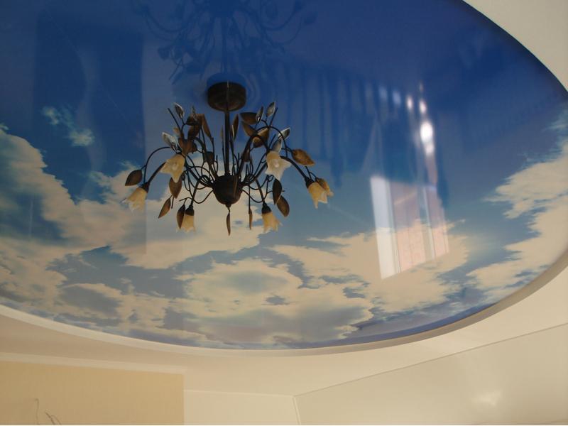 Натяжные потолки с фото неба и облака